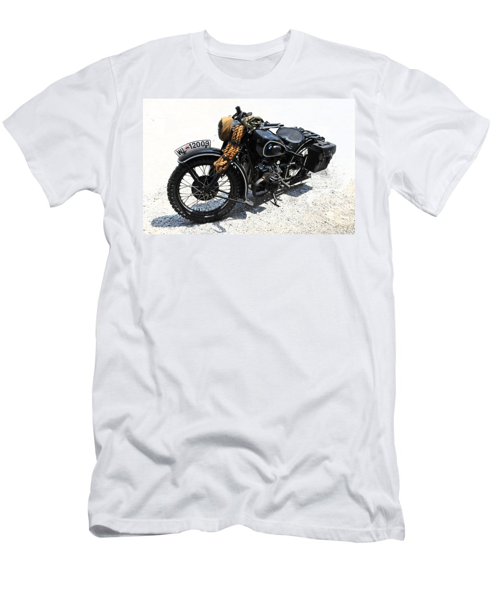 Bmw Men's T-Shirt (Athletic Fit) featuring the photograph Military Style Bmw Motorcycle by Dave Mills