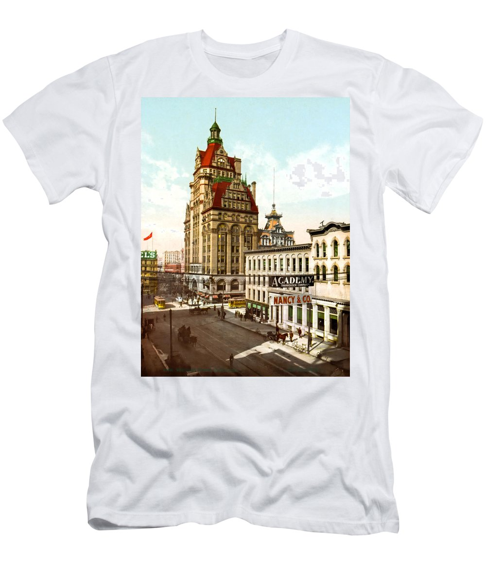 1899 Men's T-Shirt (Athletic Fit) featuring the photograph Milwaukee's Wisconsin Street 1899 by Mountain Dreams