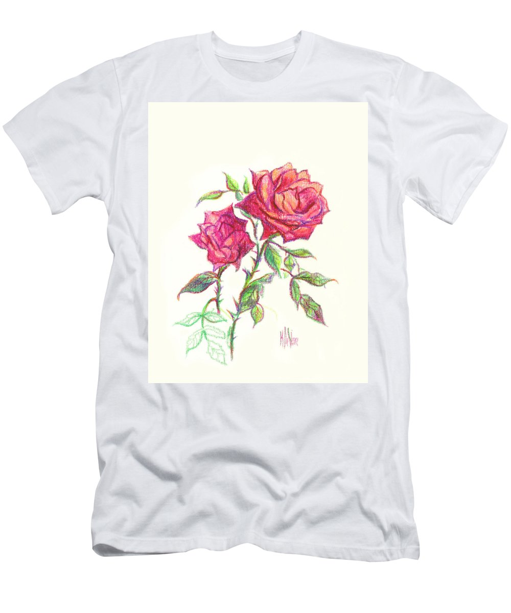 Nature Men's T-Shirt (Athletic Fit) featuring the painting Minature Red Rose by Kip DeVore