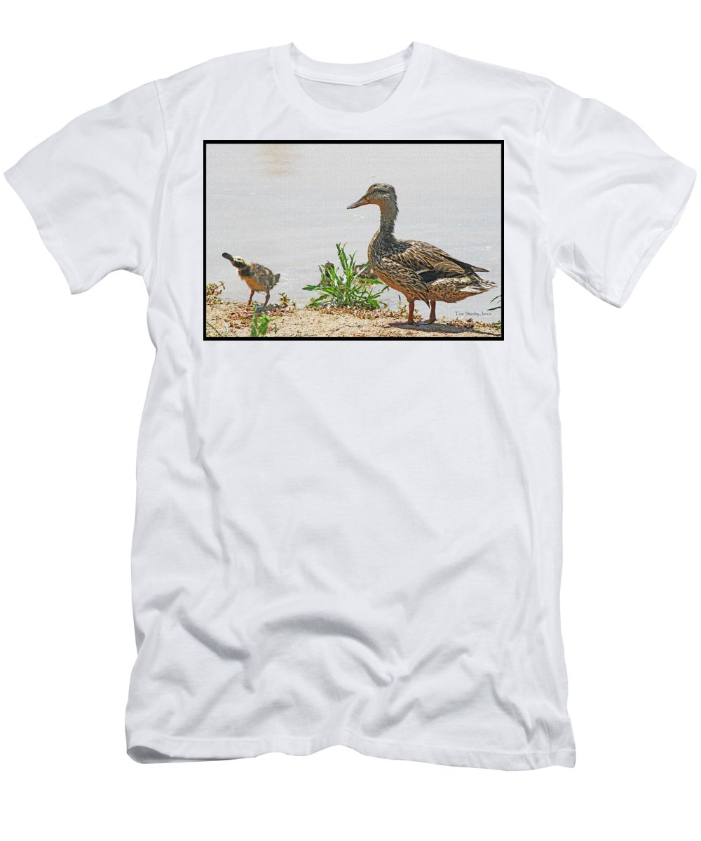 Momma Duck And Baby With A Different View Men's T-Shirt (Athletic Fit) featuring the photograph Momma Duck And Baby With A Different View by Tom Janca