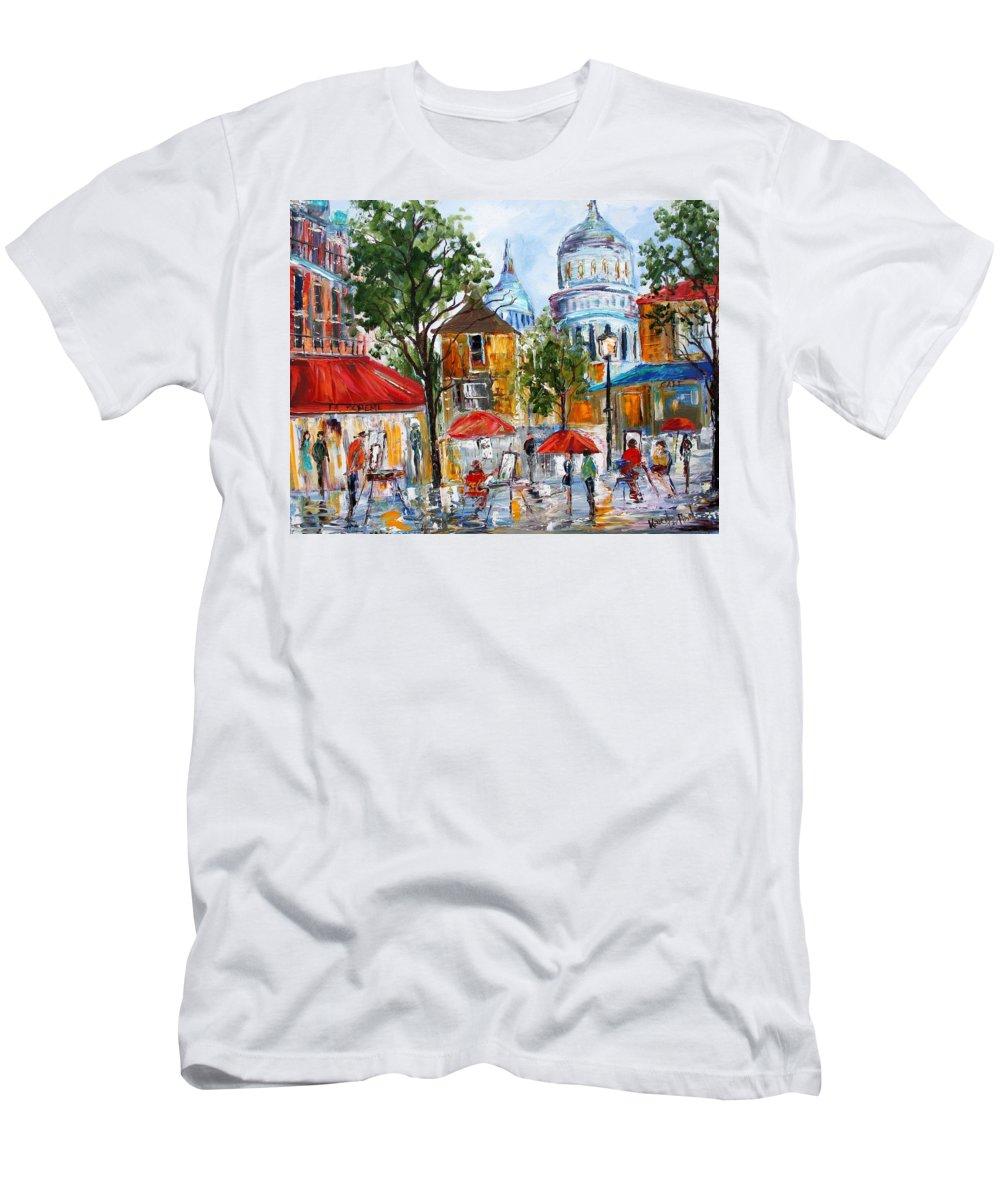 Romance Paintings Paintings Men's T-Shirt (Athletic Fit) featuring the painting Montmartre Paris by Karen Tarlton