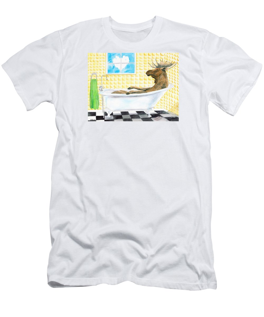 Moose Men's T-Shirt (Athletic Fit) featuring the painting Moose Bath by LeAnne Sowa