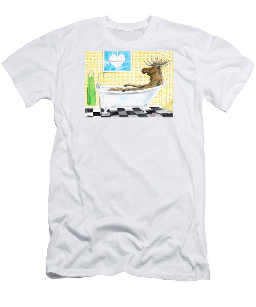 Moose Painting Men's T-Shirt (Athletic Fit) featuring the painting Moose Bath, Moose Painting, Moose Print, Bath Painting, Bath Print, Cottage Art by LeAnne Sowa