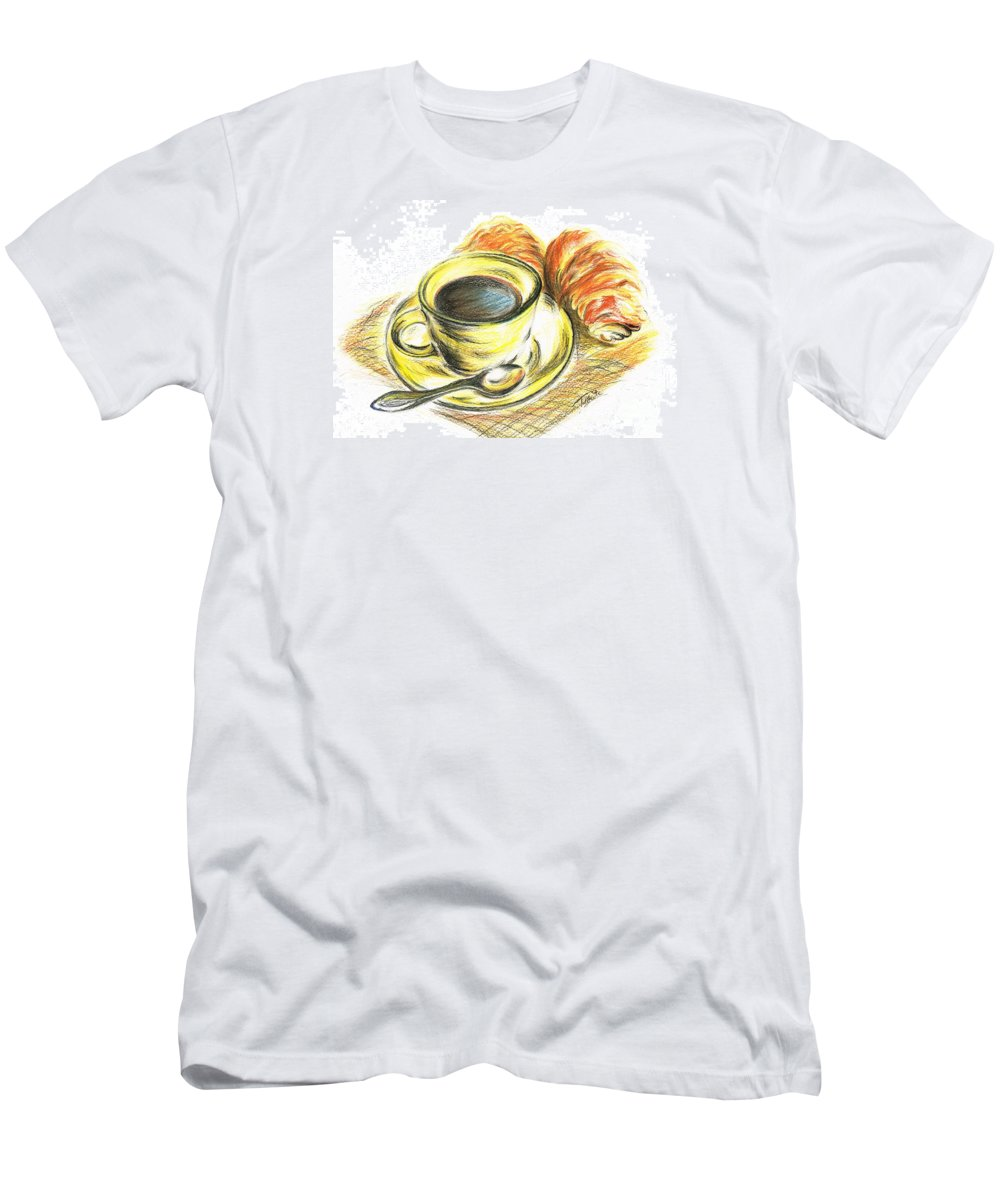 Teresa White Men's T-Shirt (Athletic Fit) featuring the drawing Morning Coffee- With Croissants by Teresa White