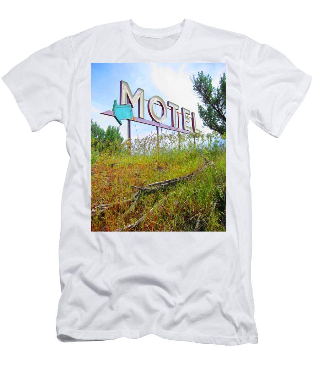 Mid Century Men's T-Shirt (Athletic Fit) featuring the photograph Motel Sign - Arrow 2 by Larry Hunter