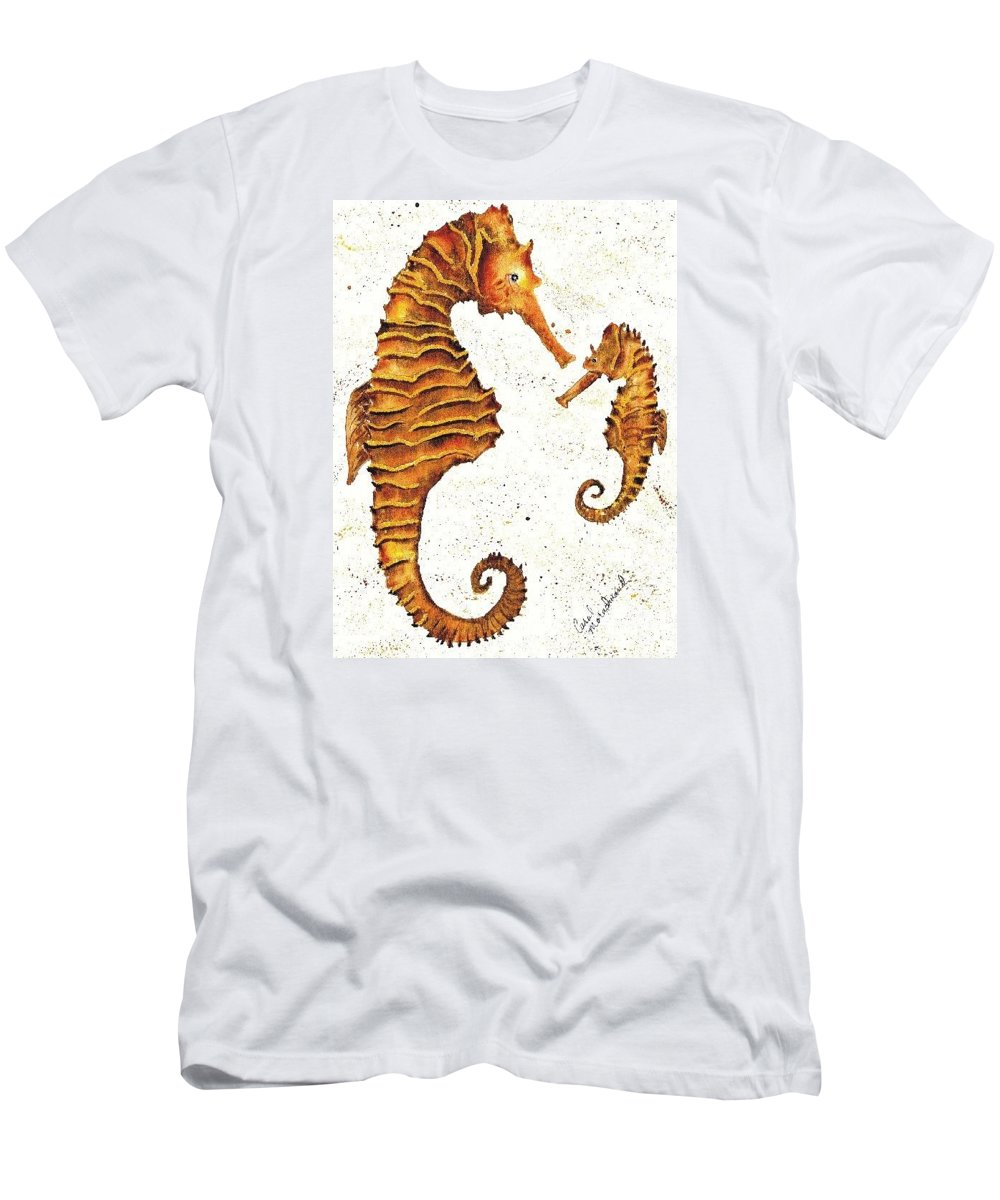 Sea Horse Men's T-Shirt (Athletic Fit) featuring the painting Mother And Baby Seahorse by Carol Lindquist