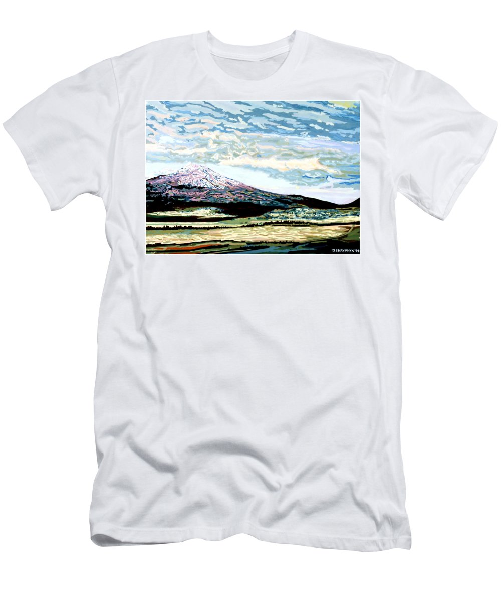 Mount Men's T-Shirt (Athletic Fit) featuring the painting Mount Shasta California by David Skrypnyk