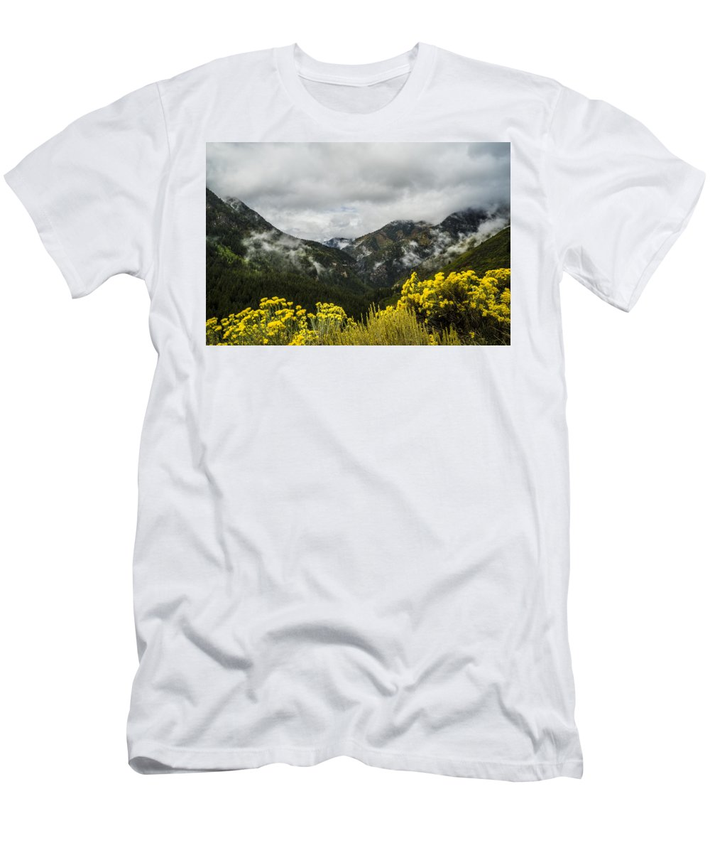 Alpine Men's T-Shirt (Athletic Fit) featuring the photograph Mountain Rain by Tayne Hunsaker