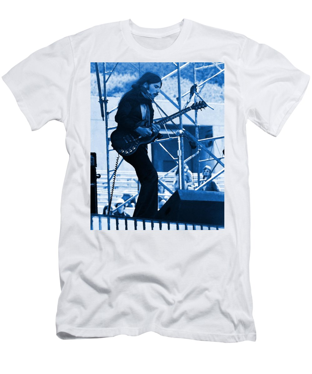 Mahogany Rush Men's T-Shirt (Athletic Fit) featuring the photograph Mrdog #63 Enhanced In Blue by Ben Upham