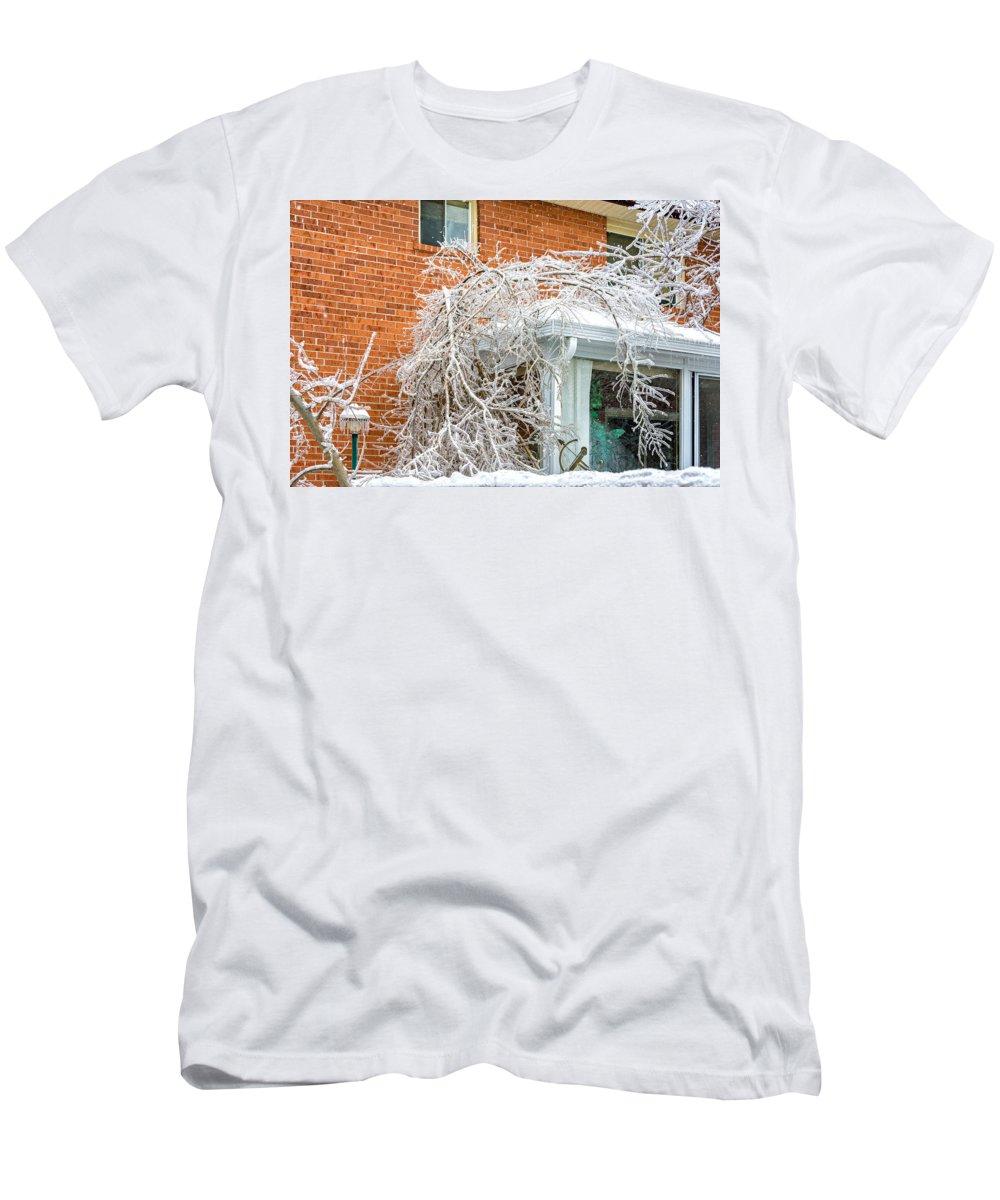 Steve Harrington Men's T-Shirt (Athletic Fit) featuring the photograph My Confused Backyard by Steve Harrington