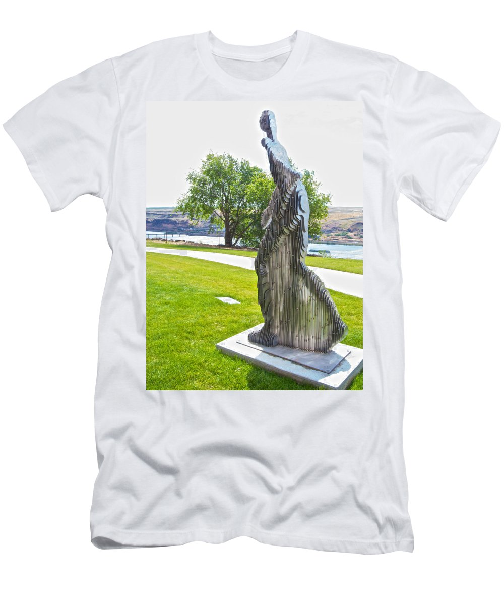My Favorite View Of Metal Sculpture Men's T-Shirt (Athletic Fit) featuring the photograph My Favorite View Of Metal Sculpture In Front Of Maryhill Museum Of Art-wa by Ruth Hager