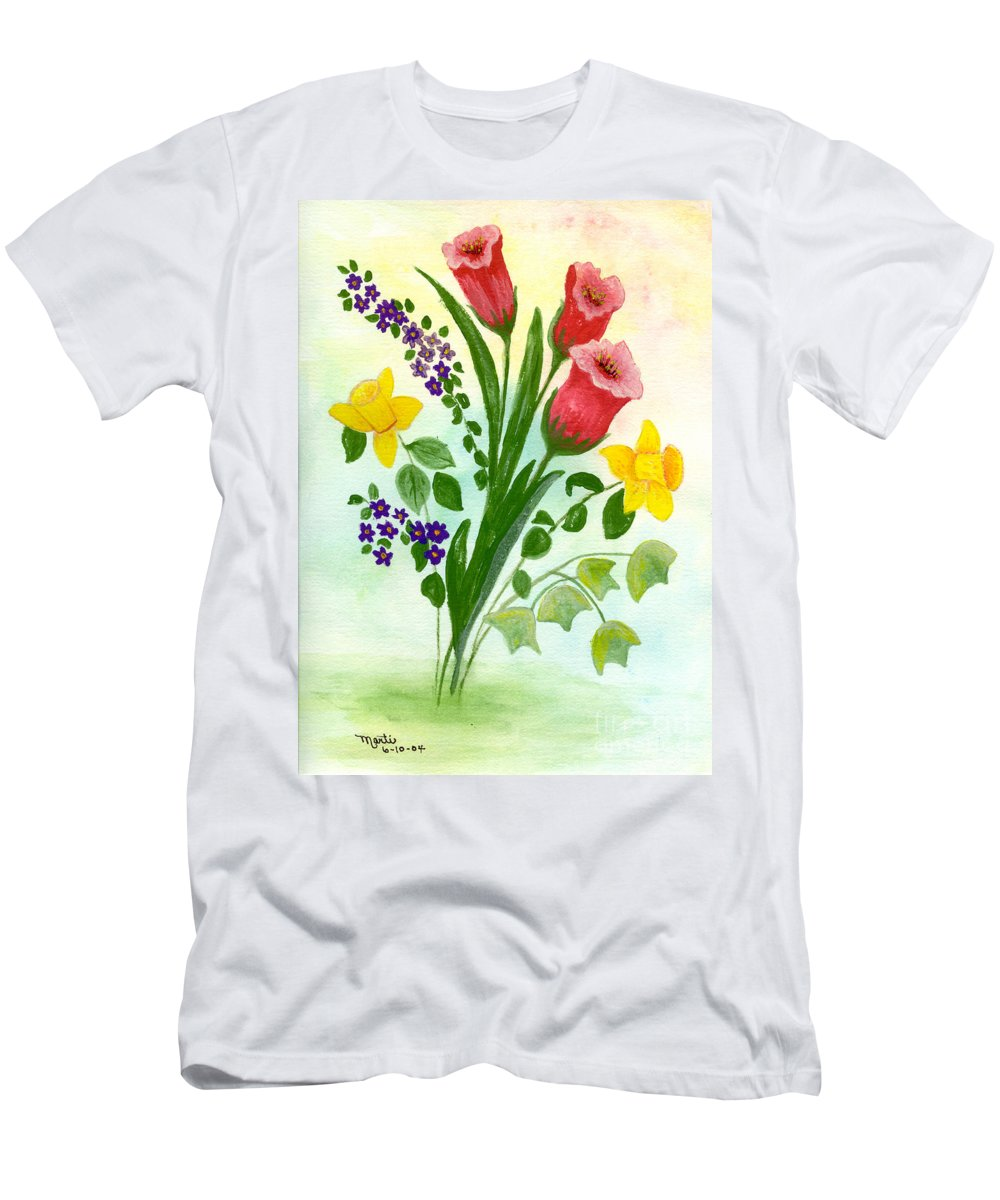 Watercolor Men's T-Shirt (Athletic Fit) featuring the painting Myriad Colors by Flamingo Graphix John Ellis
