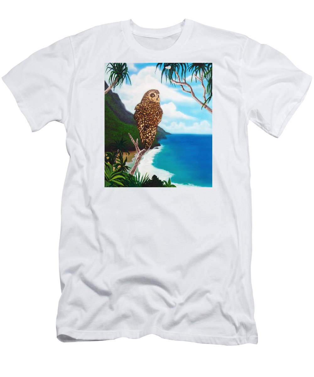 Owl Men's T-Shirt (Athletic Fit) featuring the painting Napali Pueo by Ethan Foxx