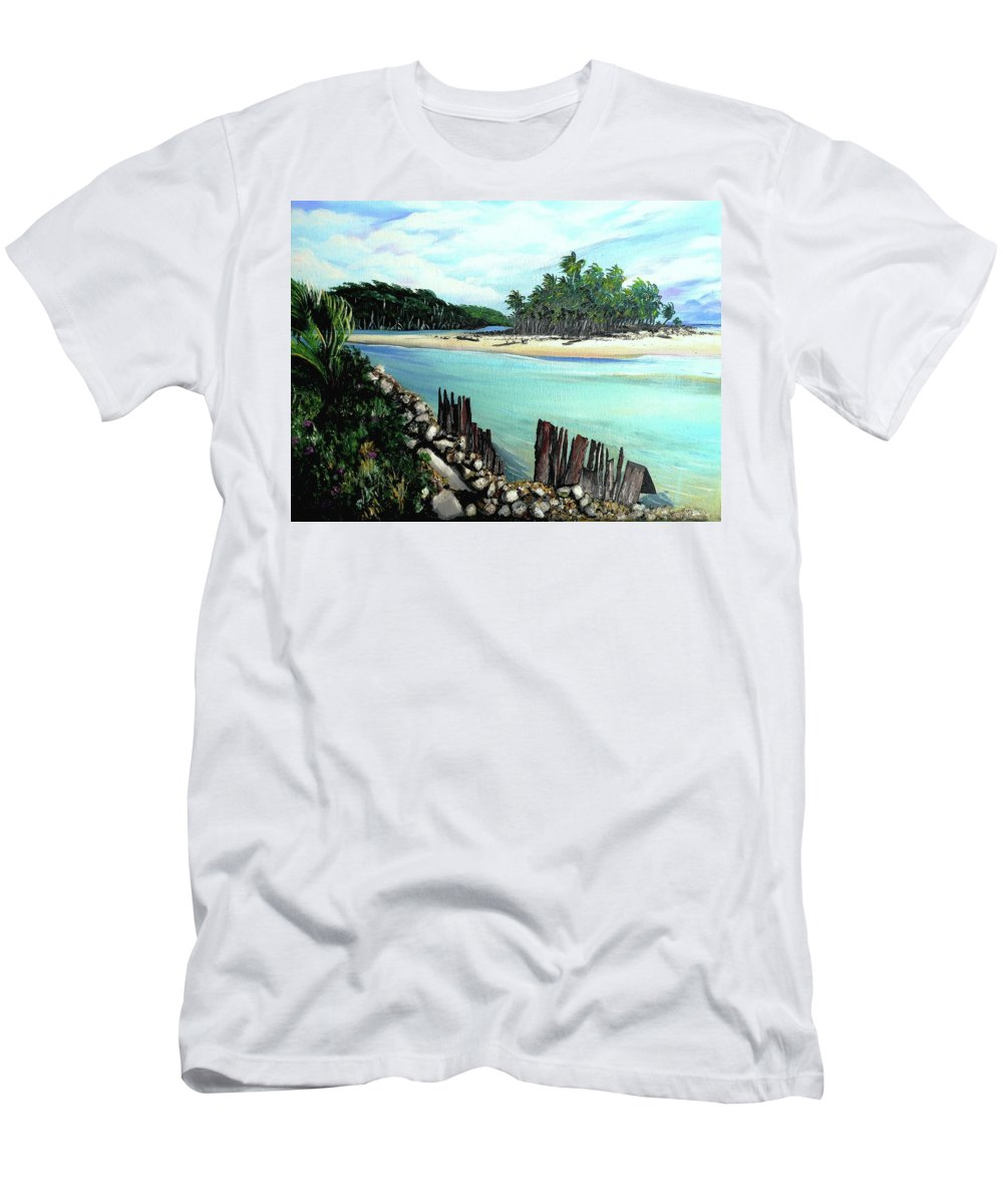 Tropical River Men's T-Shirt (Athletic Fit) featuring the painting Nariva River And Cocos Bay by Karin Dawn Kelshall- Best