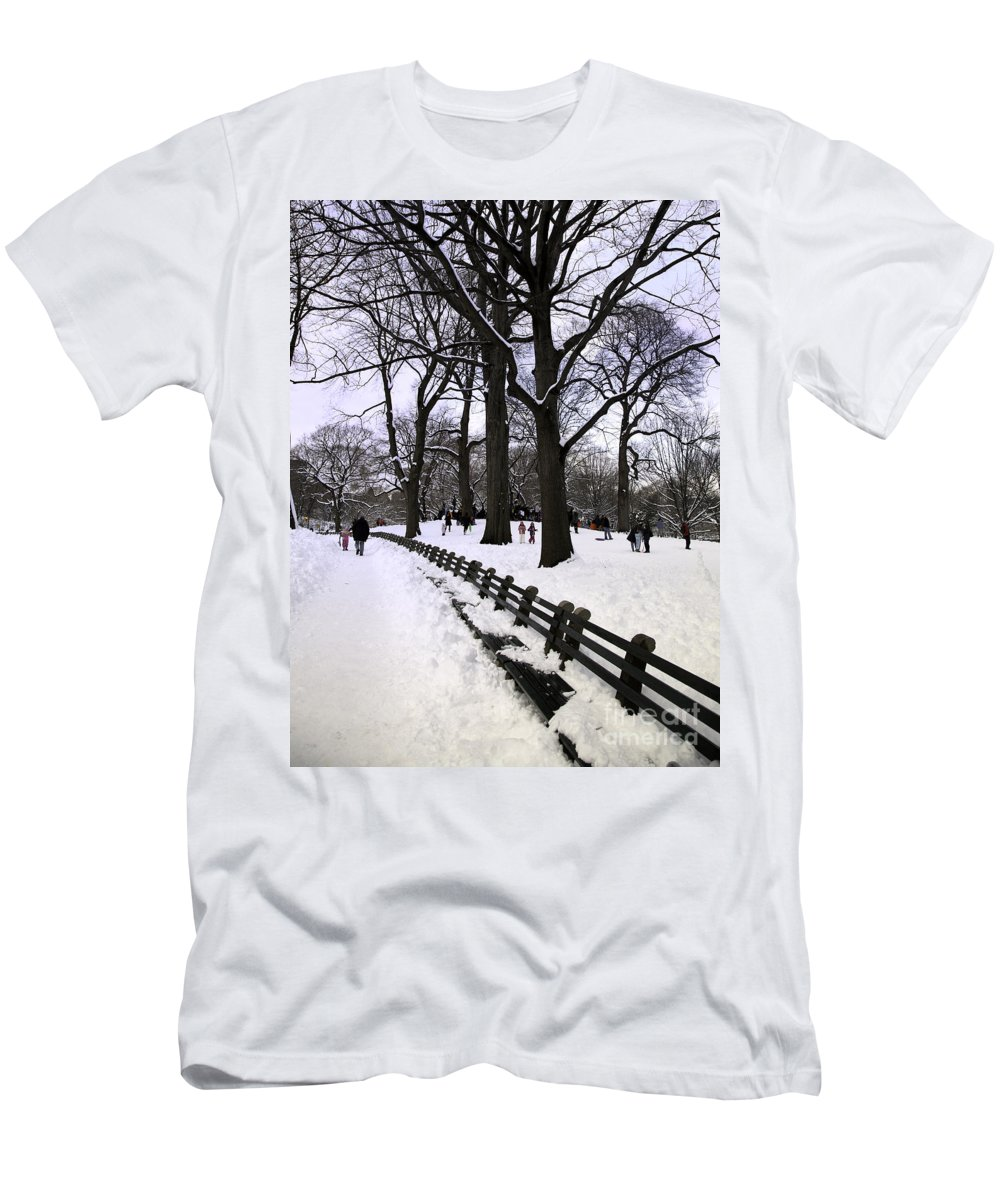 Snow Men's T-Shirt (Athletic Fit) featuring the photograph Nature's Canvas On A Wintry Day by Madeline Ellis