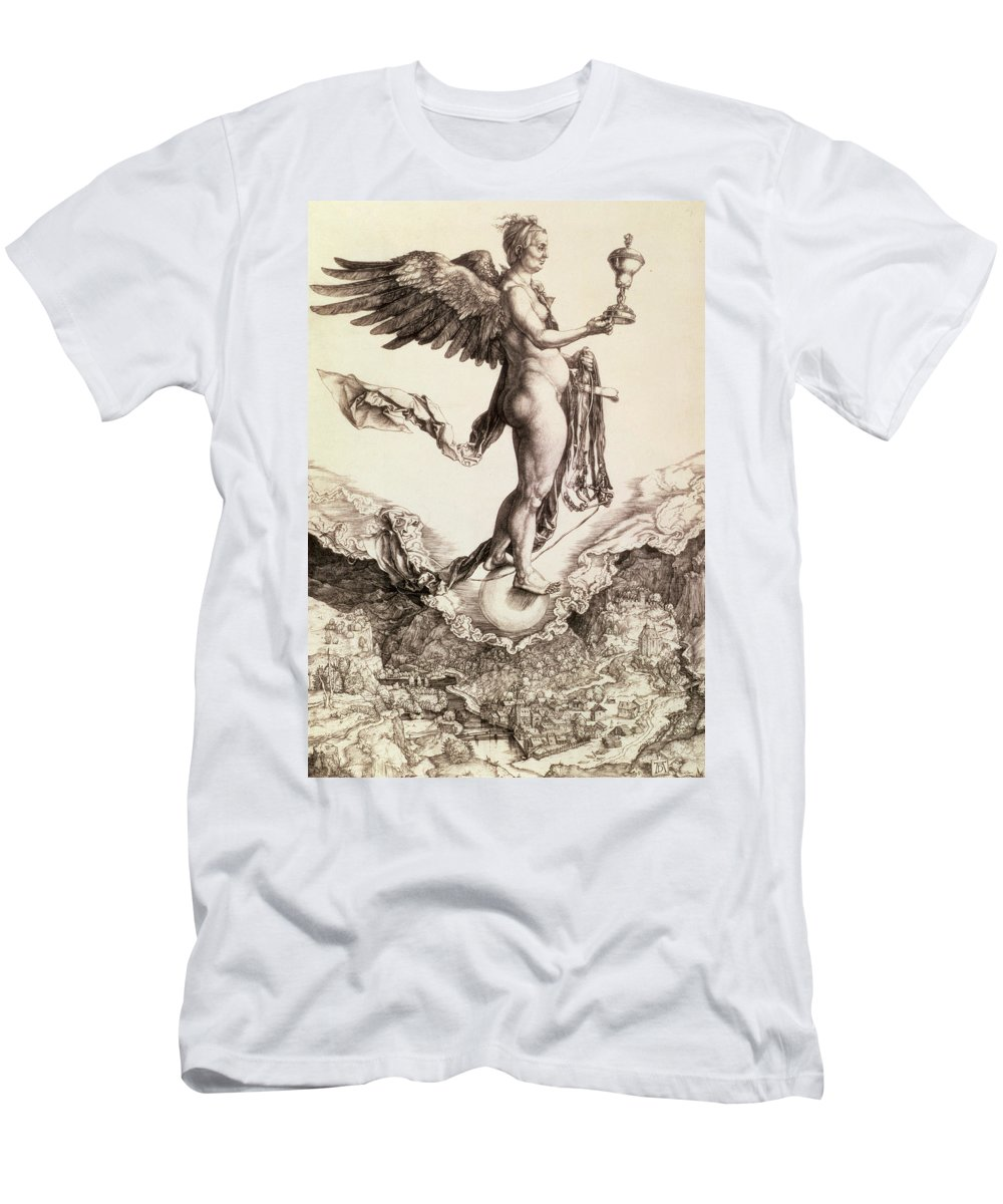 Fate Men's T-Shirt (Athletic Fit) featuring the drawing Nemesis by Albrecht Durer