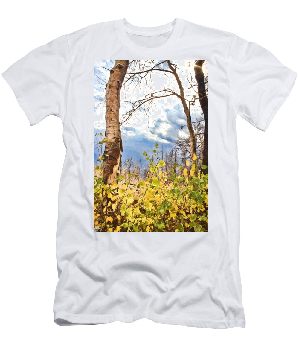 Mixed Media Men's T-Shirt (Athletic Fit) featuring the photograph New Generation - Mixed Media - Casper Mountain - Casper Wyoming by Diane Mintle