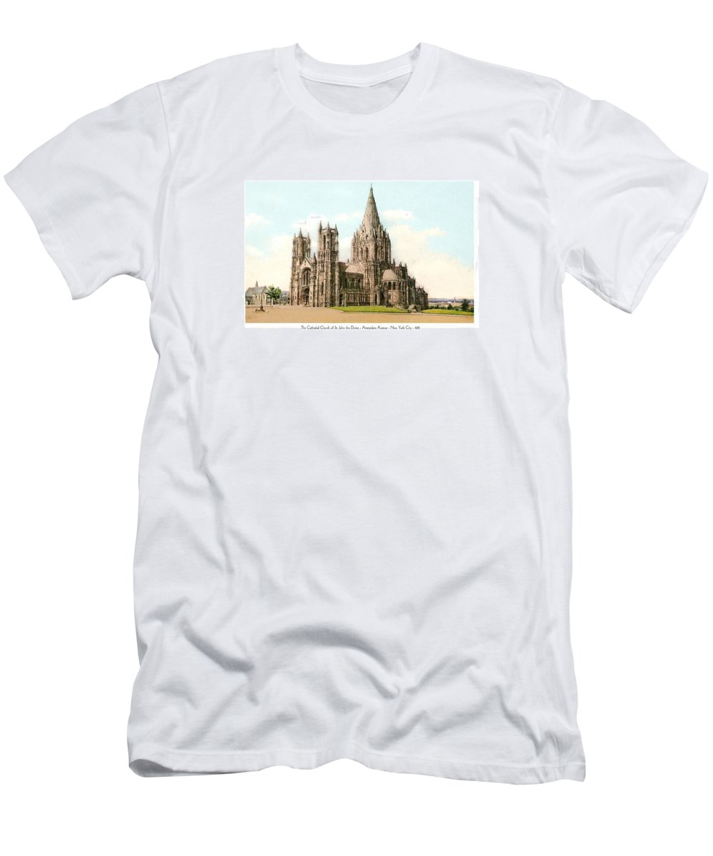 New York City Men's T-Shirt (Athletic Fit) featuring the digital art New York City - The Cathedral Church Of St John The Divine - 1915 by John Madison