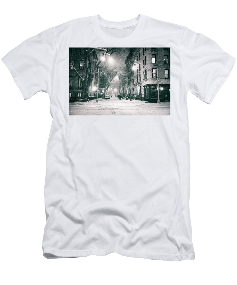 Nyc Men's T-Shirt (Athletic Fit) featuring the photograph New York City - Winter Night In The West Village by Vivienne Gucwa