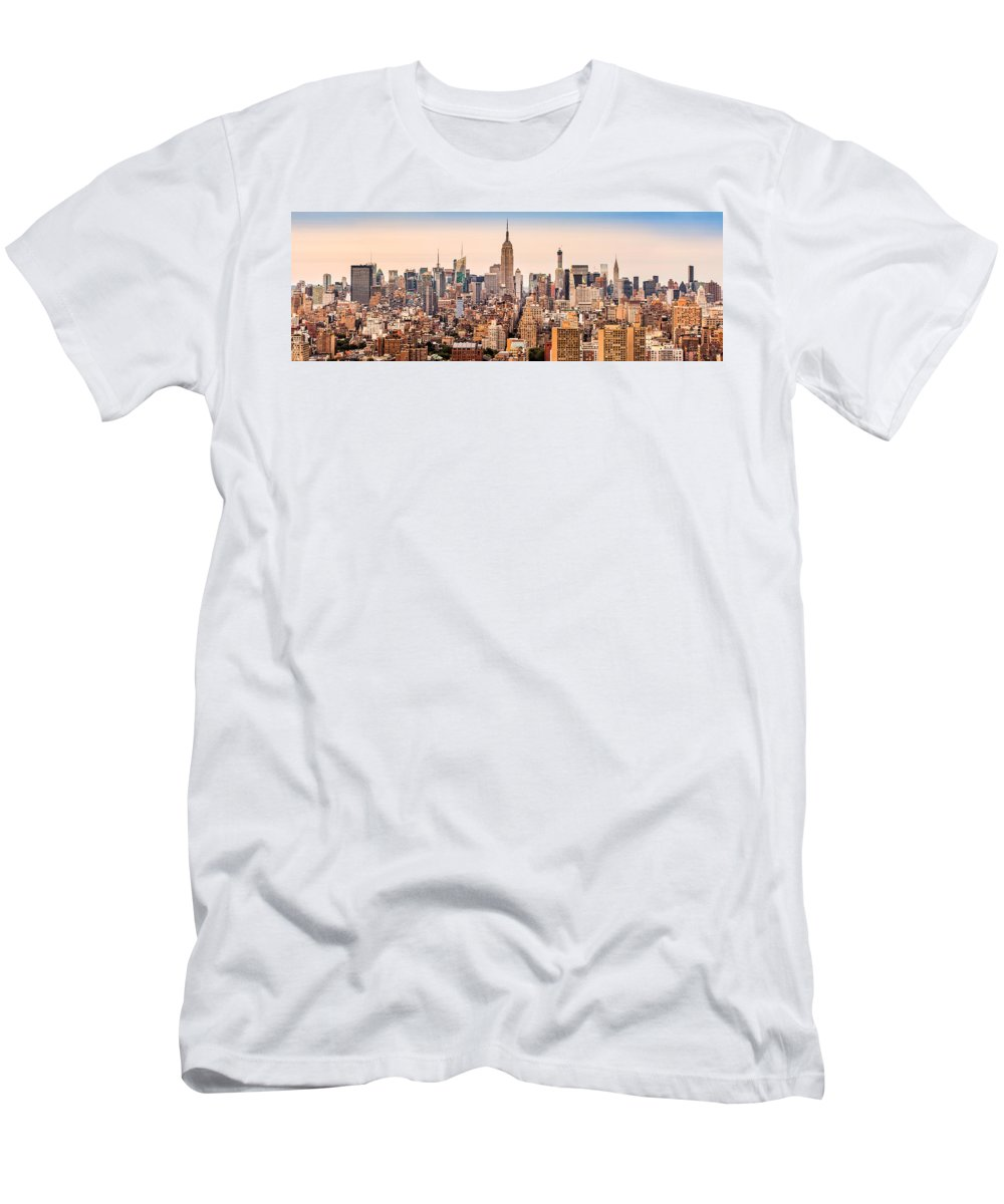 Aerial Men's T-Shirt (Athletic Fit) featuring the photograph New York Skyline Panorama by Mihai Andritoiu