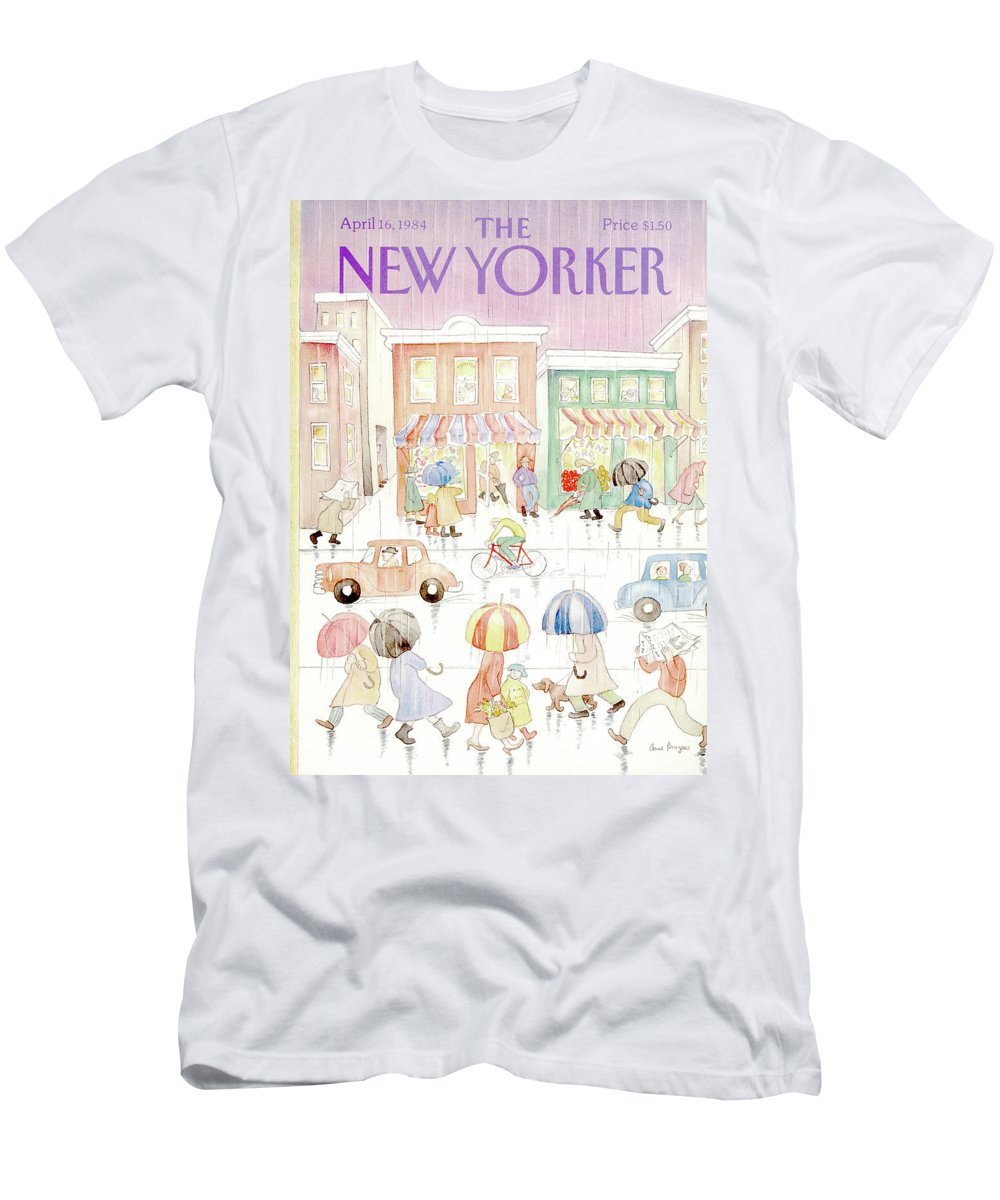Rain T-Shirt featuring the painting New Yorker April 16th, 1984 by Anne Burgess