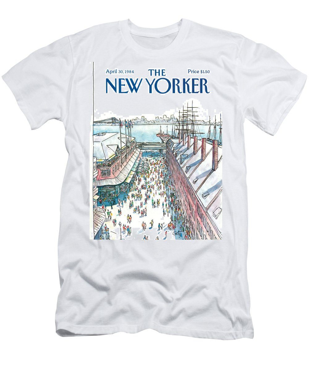 New York City T-Shirt featuring the painting New Yorker April 30th, 1984 by Arthur Getz