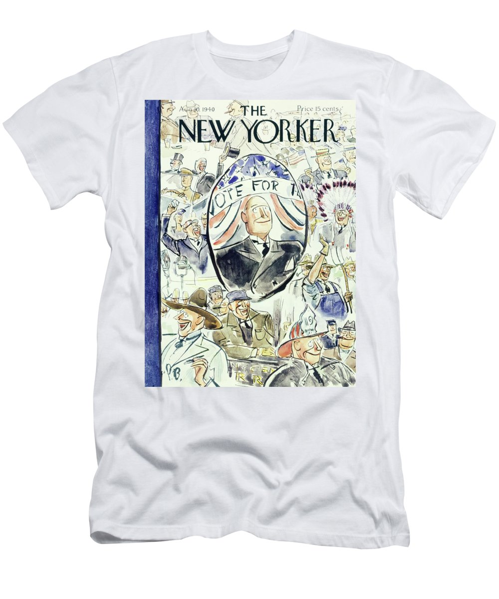 Political T-Shirt featuring the painting New Yorker August 10 1940 by Perry Barlow