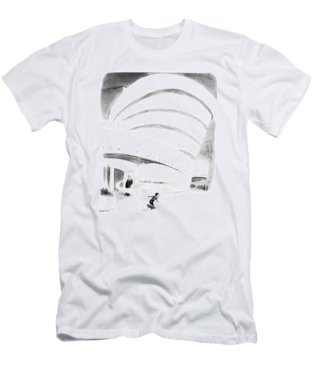 (boy Rides Out Of Guggenheim Museum On A Skateboard.) Architecture T-Shirt featuring the drawing New Yorker August 16th, 1976 by James Stevenson