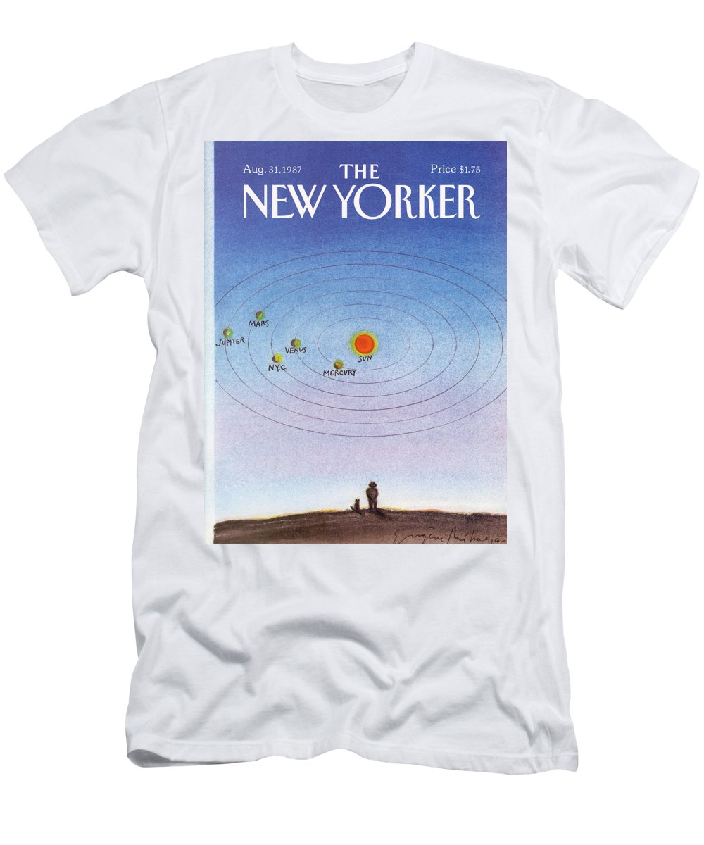 New York City Men's T-Shirt (Athletic Fit) featuring the painting New Yorker August 31st, 1987 by Eugene Mihaesco