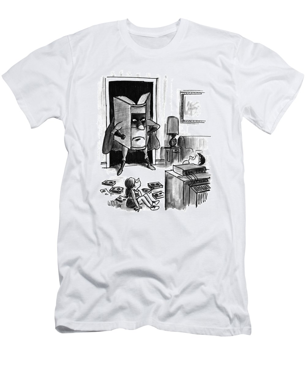Entertainment T-Shirt featuring the drawing New Yorker August 3rd, 1992 by Warren Miller