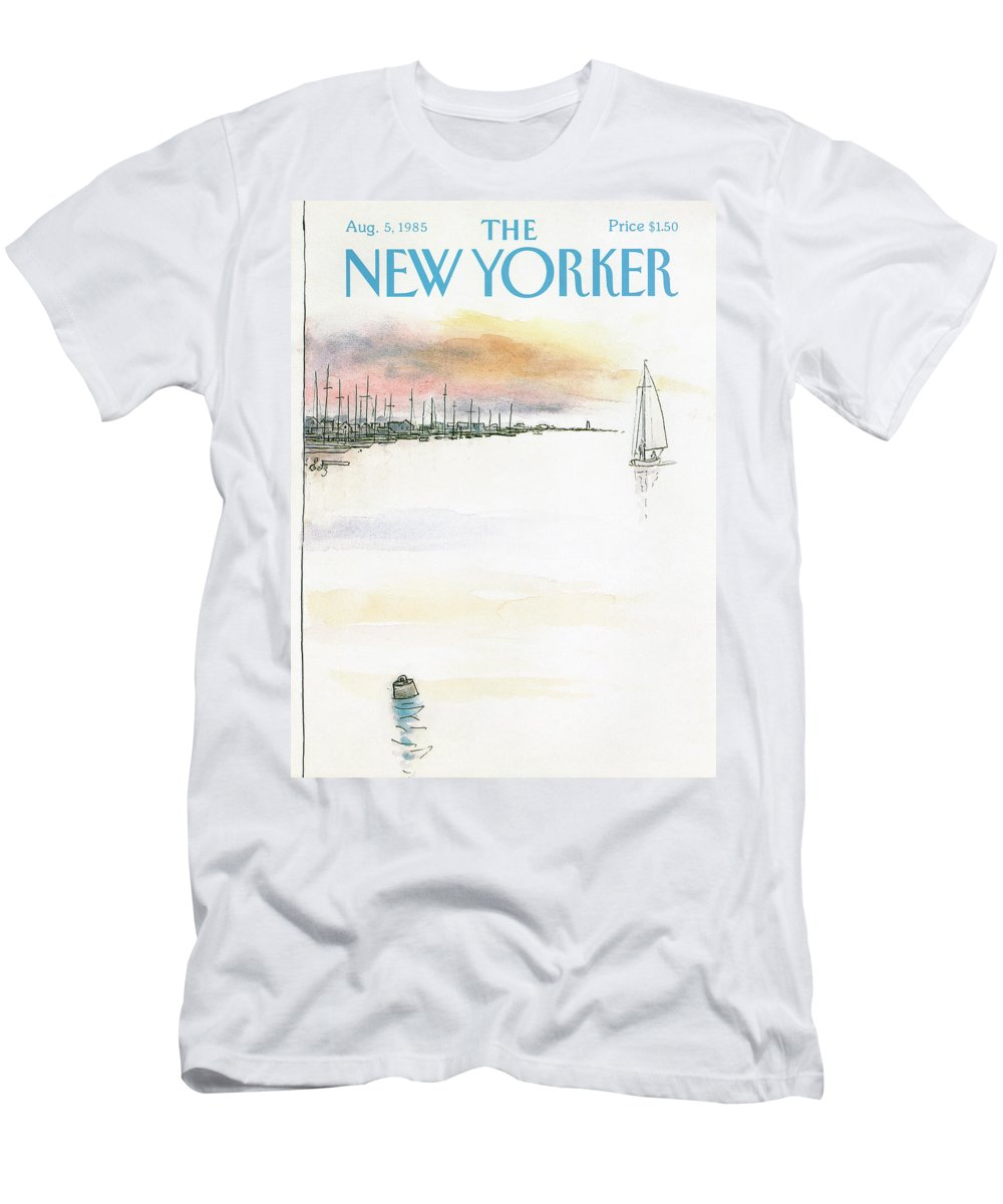 Nature Men's T-Shirt (Athletic Fit) featuring the painting New Yorker August 5th, 1985 by Arthur Getz