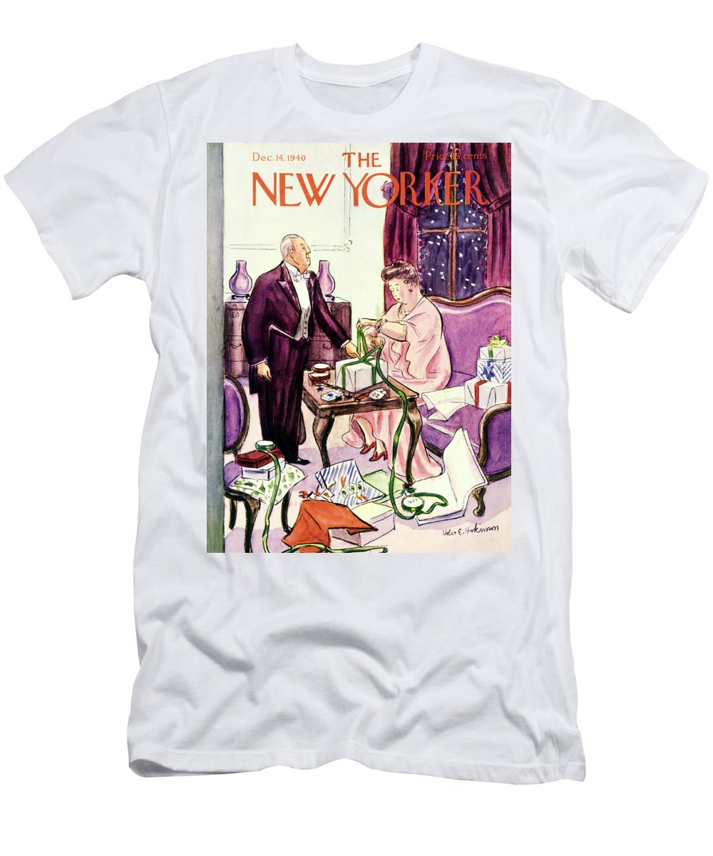 Holiday T-Shirt featuring the painting New Yorker December 14 1940 by Helene E Hokinson