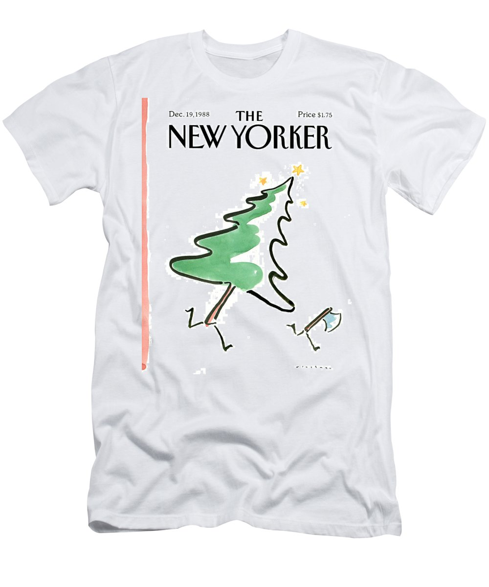 Holidays Men's T-Shirt (Athletic Fit) featuring the painting New Yorker December 19th, 1988 by RO Blechman