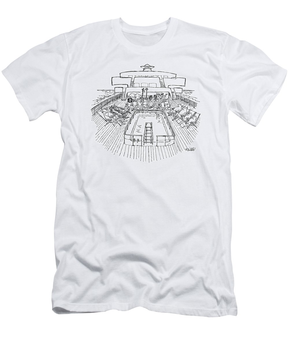 (noah's Ark As Cruise Ship Men's T-Shirt (Athletic Fit) featuring the drawing New Yorker December 31st, 1979 by Mischa Richter