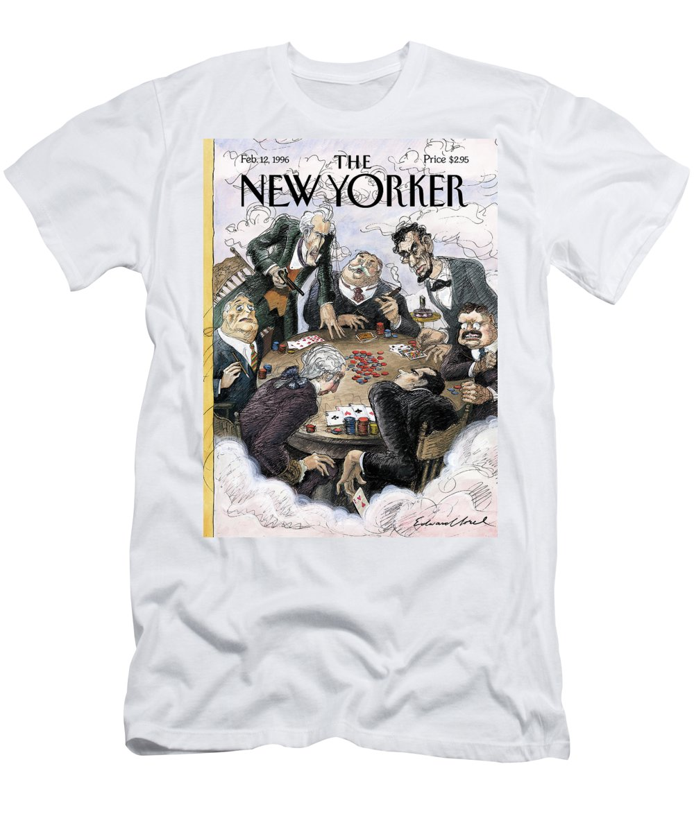 Presidential Privilege Artkey 50844 Eso Edward Sorel Men's T-Shirt (Athletic Fit) featuring the painting New Yorker February 12th, 1996 by Edward Sorel