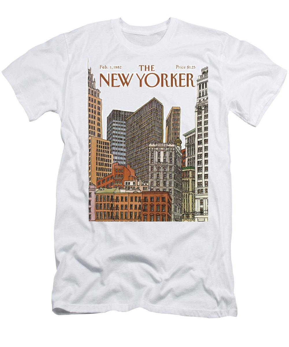 Business T-Shirt featuring the painting New Yorker February 1st, 1982 by Roxie Munro