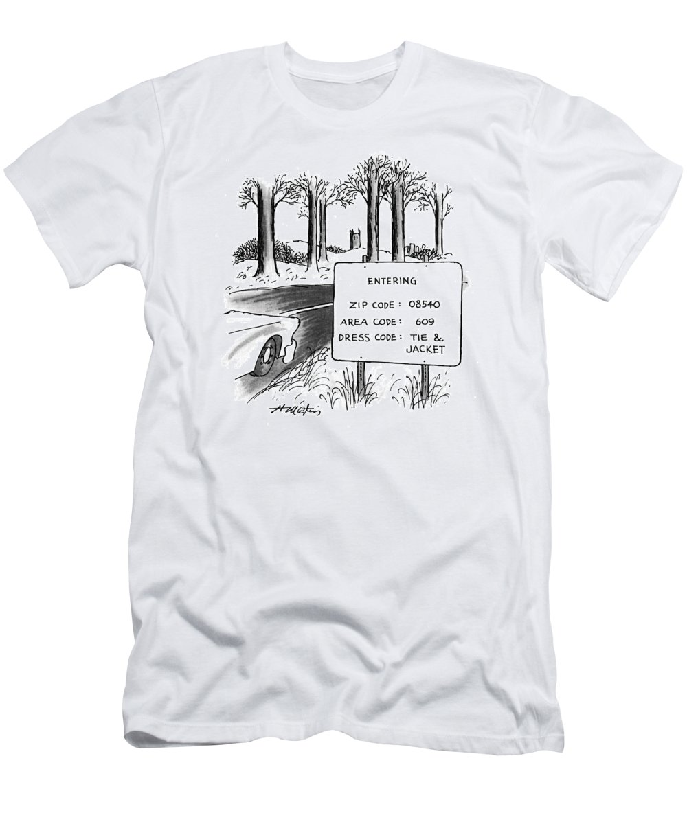 (sign By The Side Of The Road That Reads T-Shirt featuring the drawing New Yorker February 1st, 1993 by Henry Martin