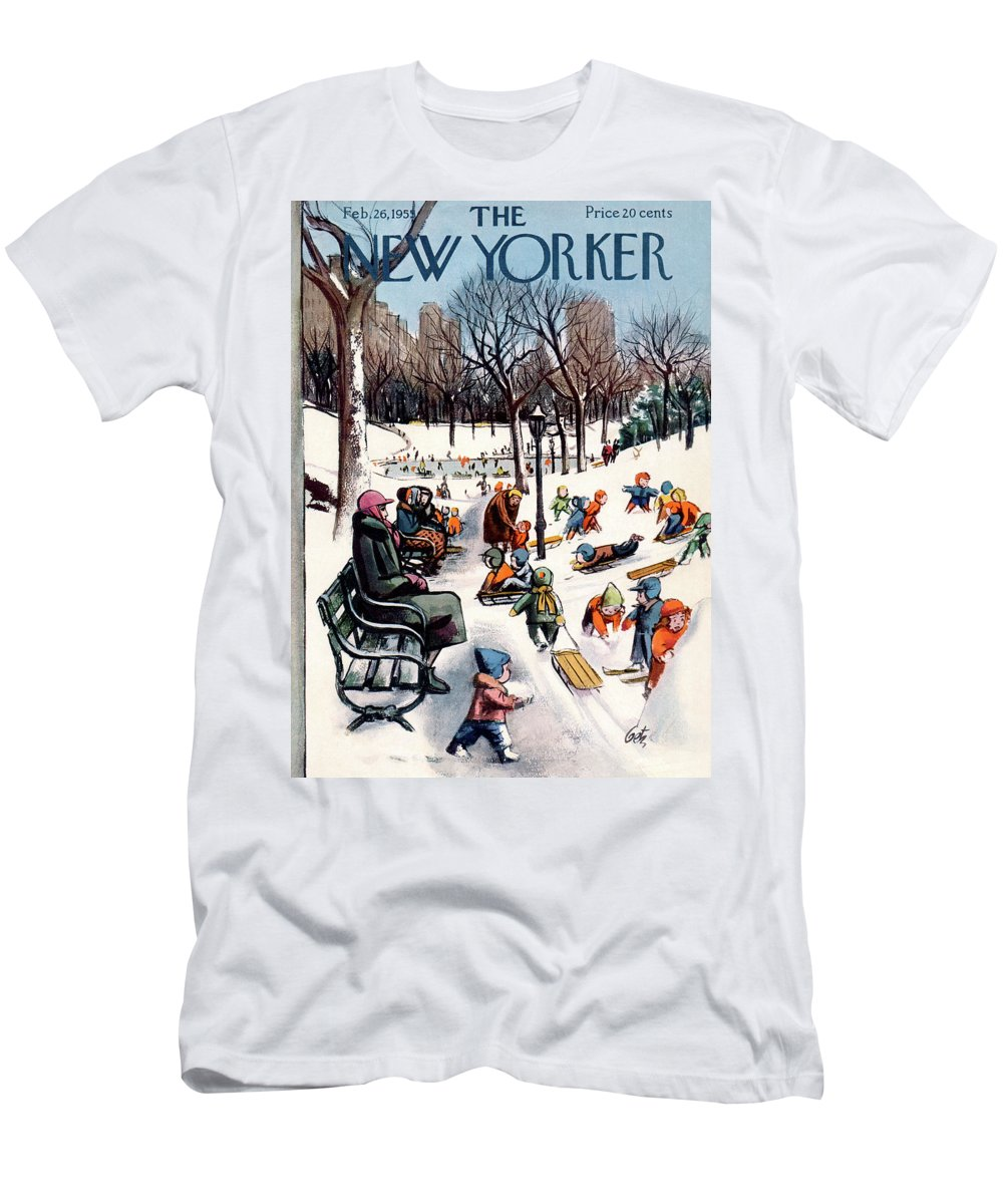 New York City T-Shirt featuring the painting New Yorker February 26th, 1955 by Arthur Getz