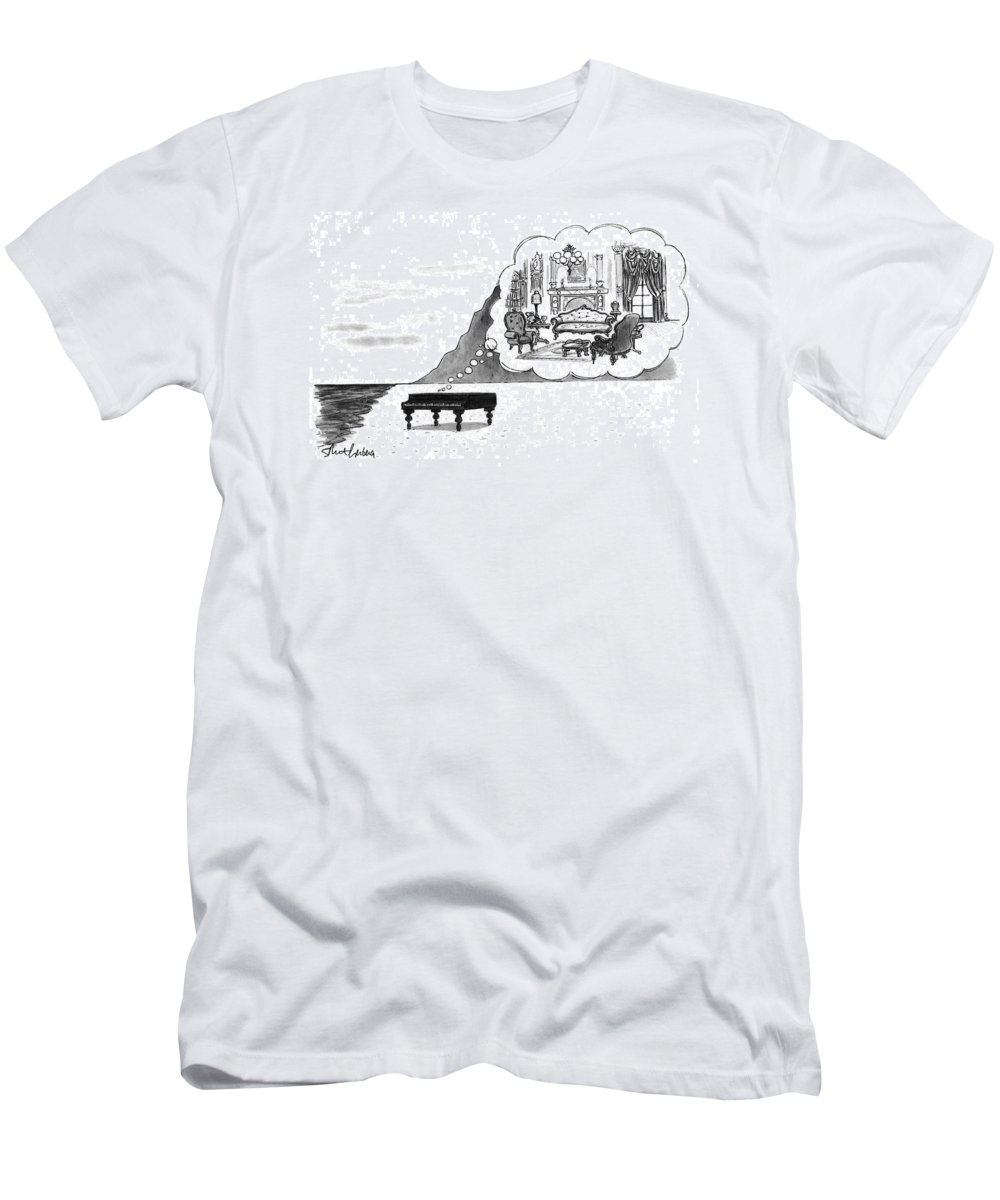 (the Piano On A Desolate Beach Wishing It Was In A Nice Parlor.)  No Caption Piano On Beach Has Mental Image Of Comfortable Victorian Parlor. Refers To Jane Campion's Film  Men's T-Shirt (Athletic Fit) featuring the drawing New Yorker January 24th, 1994 by Mort Gerberg