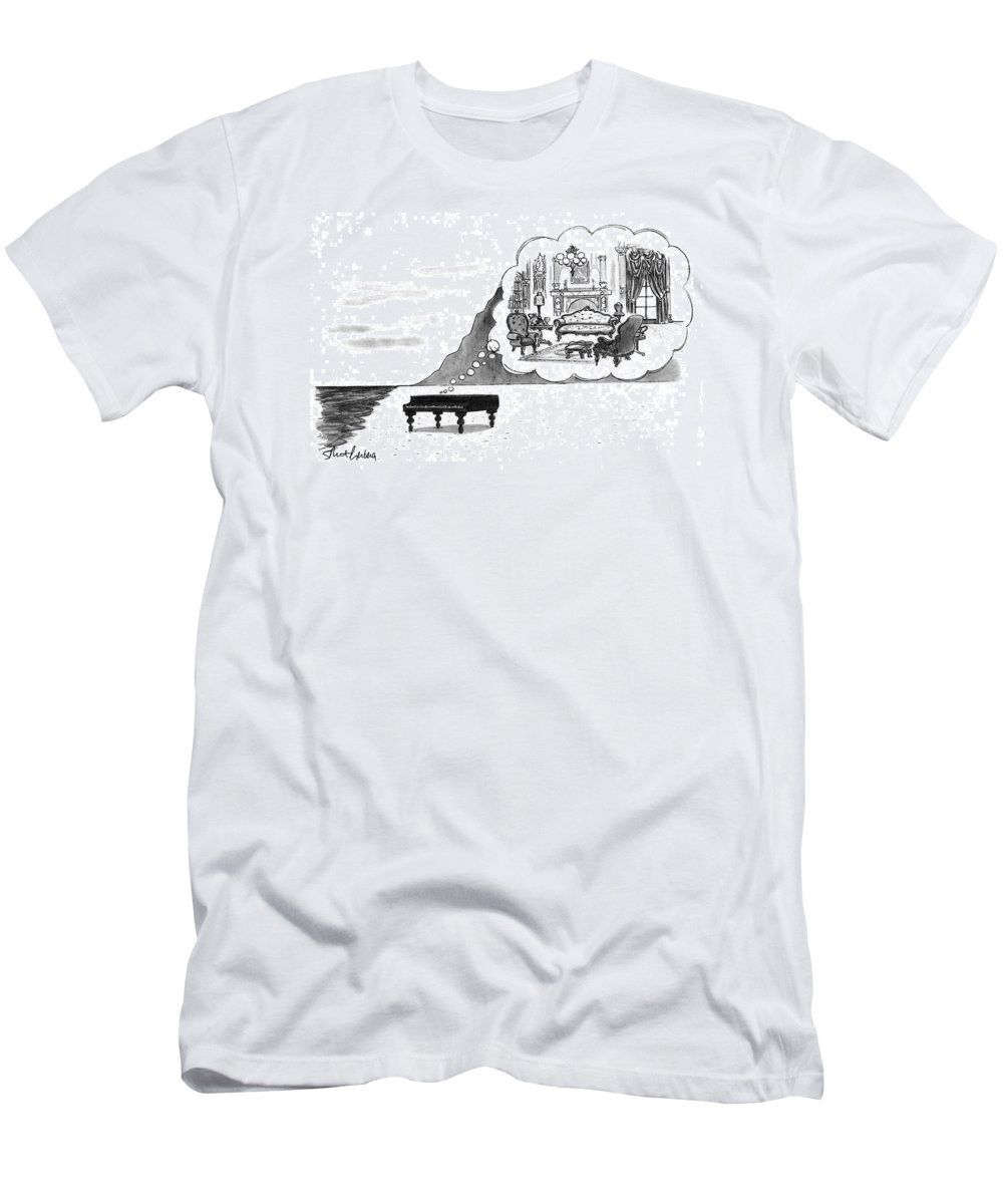 (the Piano On A Desolate Beach Wishing It Was In A Nice Parlor.)  No Caption Piano On Beach Has Mental Image Of Comfortable Victorian Parlor. Refers To Jane Campion's Film  T-Shirt featuring the drawing New Yorker January 24th, 1994 by Mort Gerberg