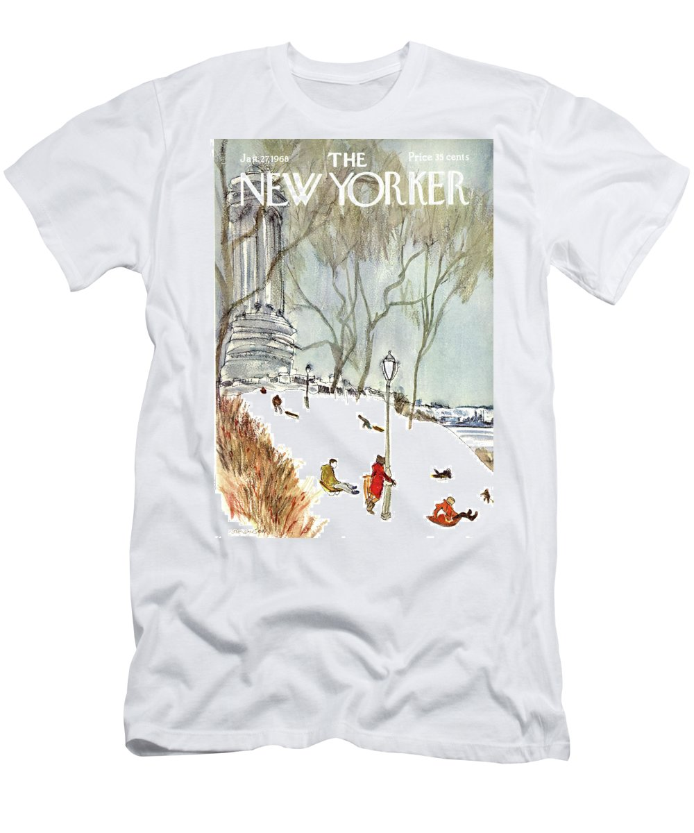 Seasons Men's T-Shirt (Athletic Fit) featuring the painting New Yorker January 27th, 1968 by James Stevenson