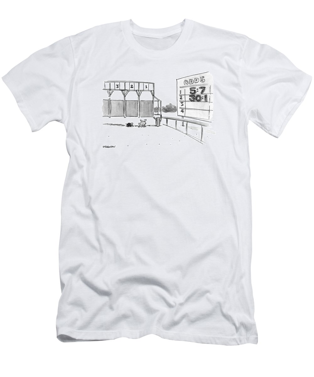 (tortoise And Hare At Start Of Race Being Held At Official Racetrack T-Shirt featuring the drawing New Yorker January 29th, 1990 by James Stevenson