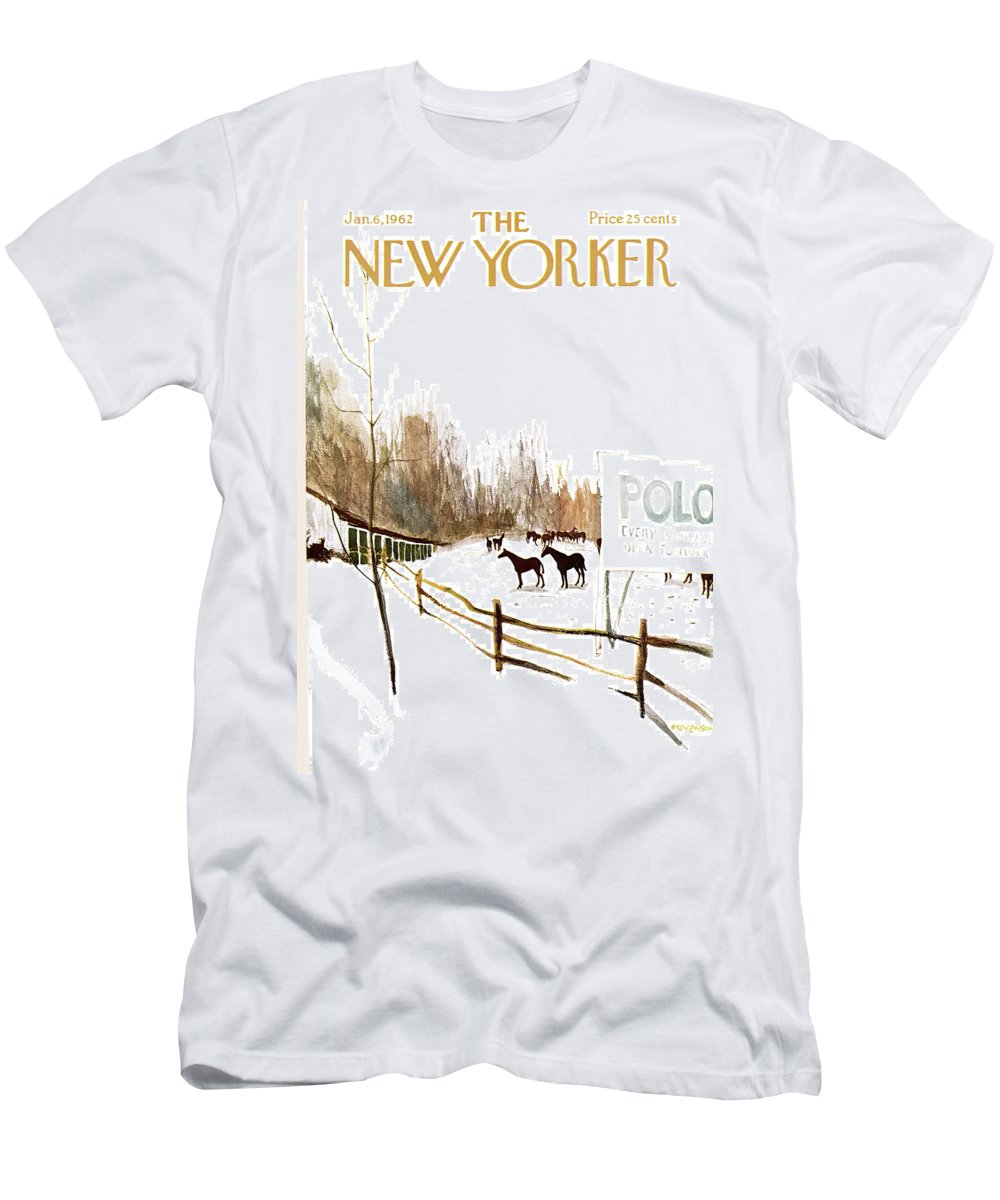 Suburb Men's T-Shirt (Athletic Fit) featuring the painting New Yorker January 6th, 1962 by James Stevenson