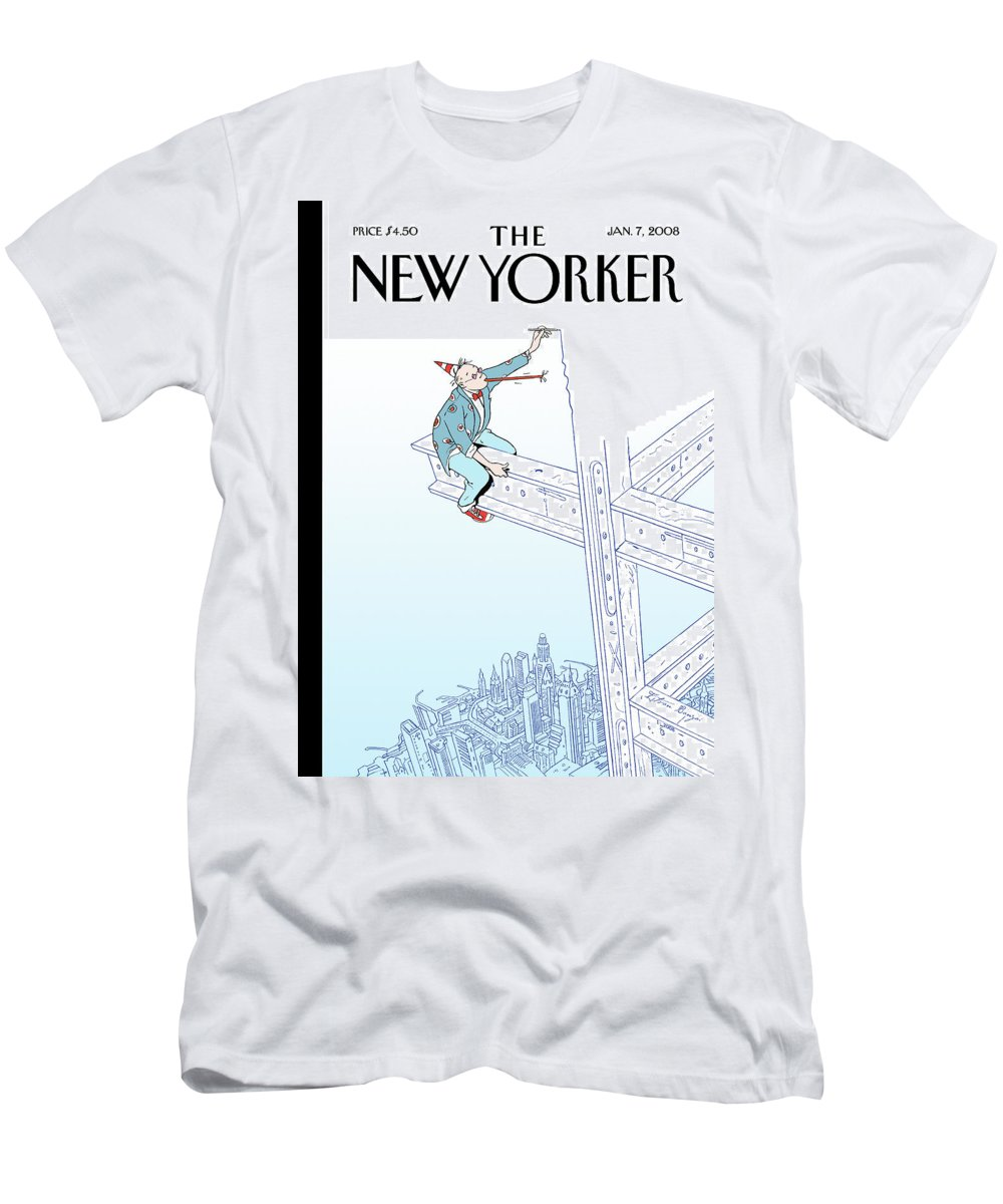 New Year Men's T-Shirt (Athletic Fit) featuring the painting New Yorker January 7th, 2008 by Istvan Banyai