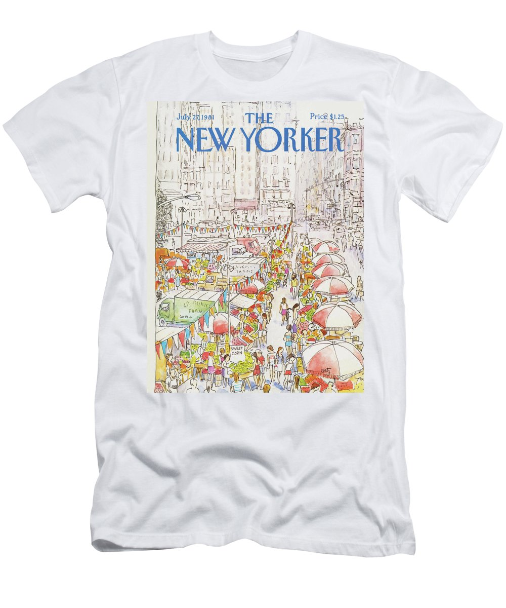New York City Men's T-Shirt (Athletic Fit) featuring the painting New Yorker July 27th, 1981 by Arthur Getz