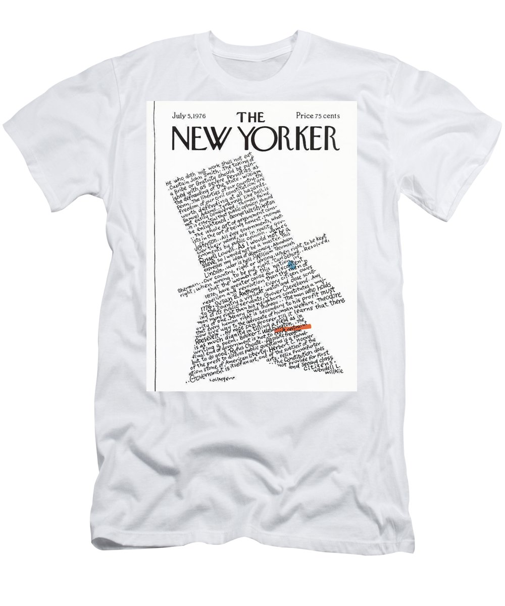 Calligraphy T-Shirt featuring the painting New Yorker July 5th, 1976 by Lou Myers