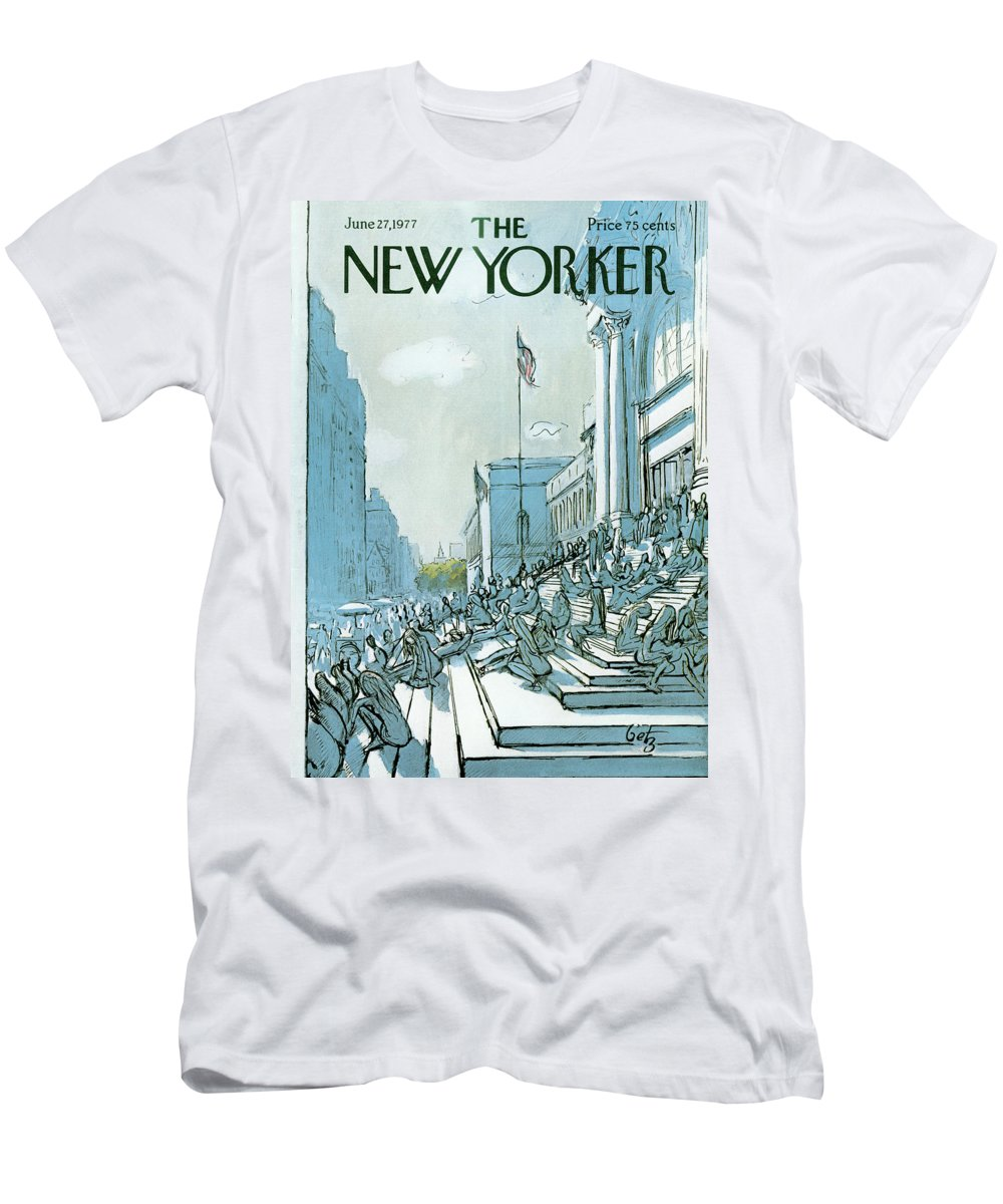 Summer T-Shirt featuring the painting New Yorker June 27th, 1977 by Arthur Getz