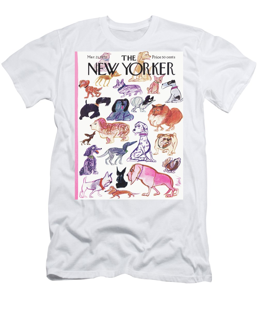 Animals Men's T-Shirt (Athletic Fit) featuring the painting New Yorker March 21st, 1970 by Kenneth Mahood