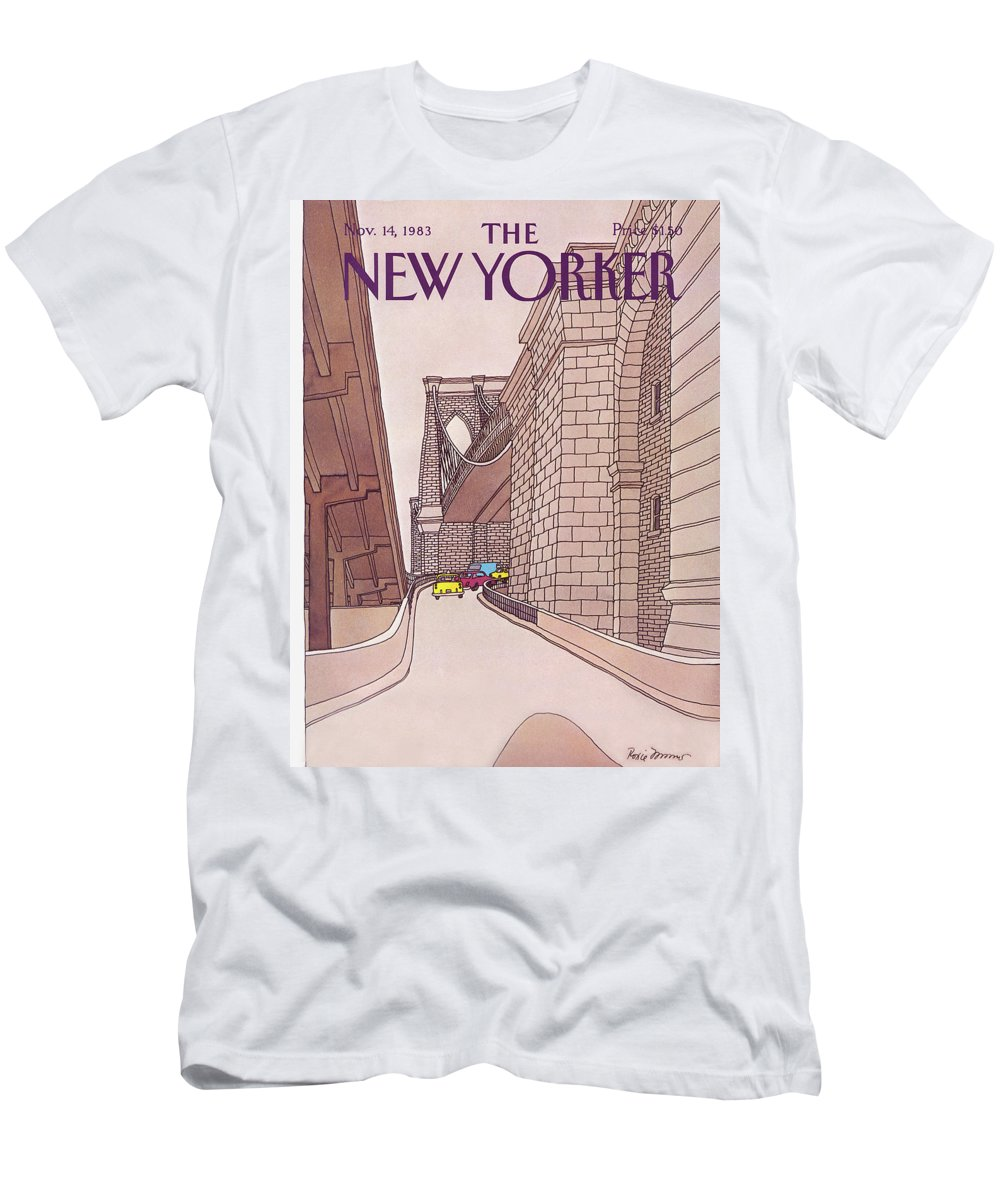 (cars And Taxis Motoring Up The Ramp To The Brooklyn Bridge.) New York City Urban Technology Architecture Automobiles Driving Travel Transportation Roxie Munro Rmu Artkey 47424 T-Shirt featuring the painting New Yorker November 14th, 1983 by Roxie Munro