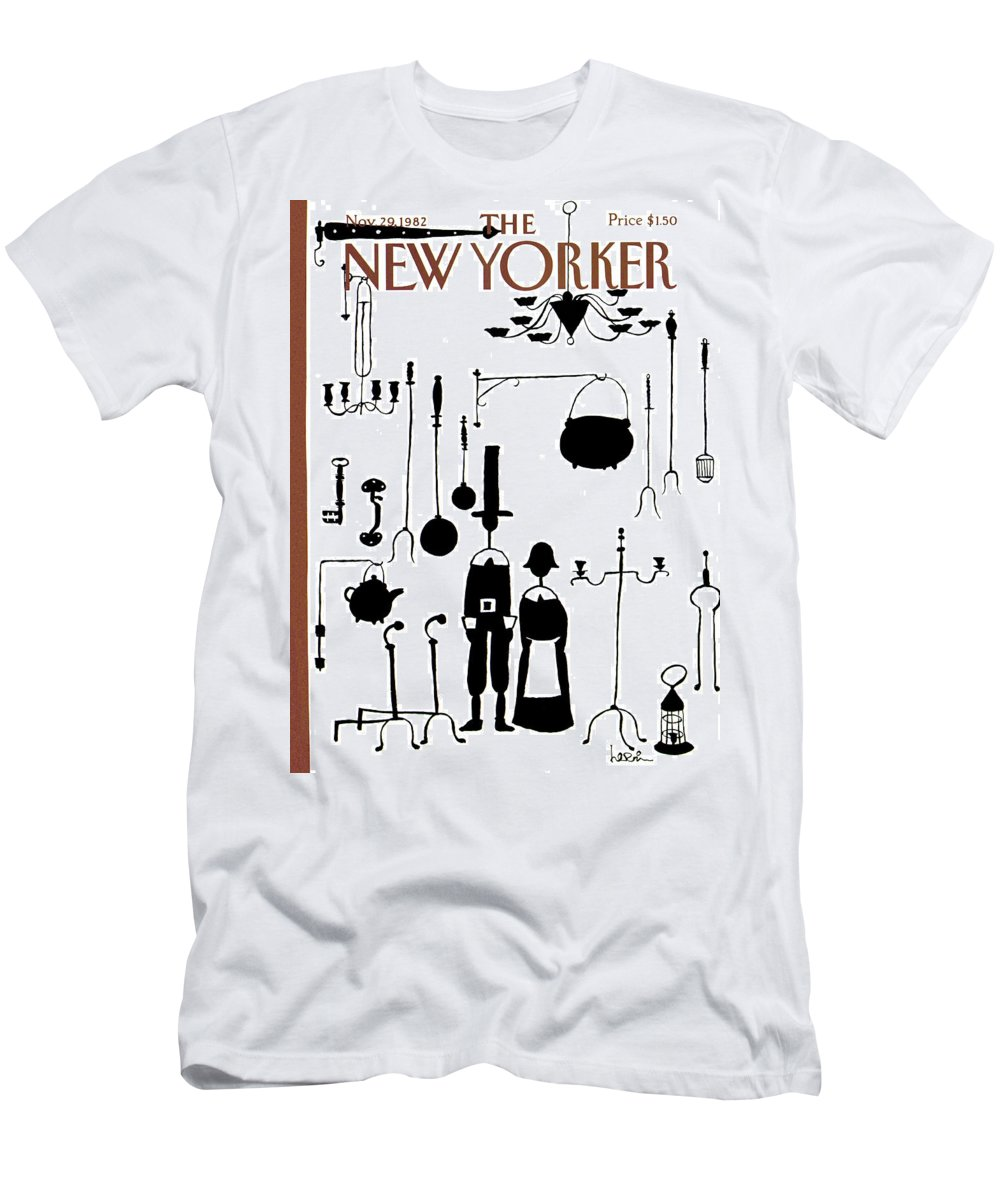 Dining Men's T-Shirt (Athletic Fit) featuring the painting New Yorker November 29th, 1982 by Arnie Levin